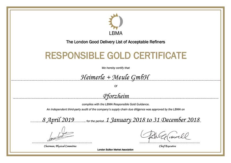 Certificato LBMA Heimerle+Meule 2019